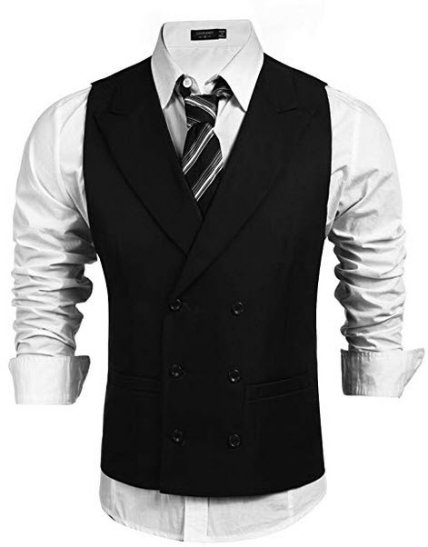 Coofandy Men's Double Breasted Suit Vest,Slim Fit Business Formal Dress Waistcoat black