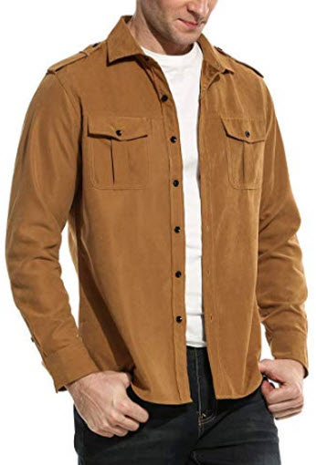 COOFANDY Men's Faux Suede Military Style Casual Long Sleeve Button Down Camp Shirt, camel