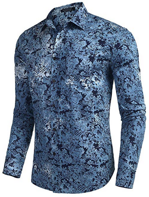 COOFANDY Men's Floral Button Down Shirt Casual Long Sleeve Slim Fit Western Paisley Shirt blue