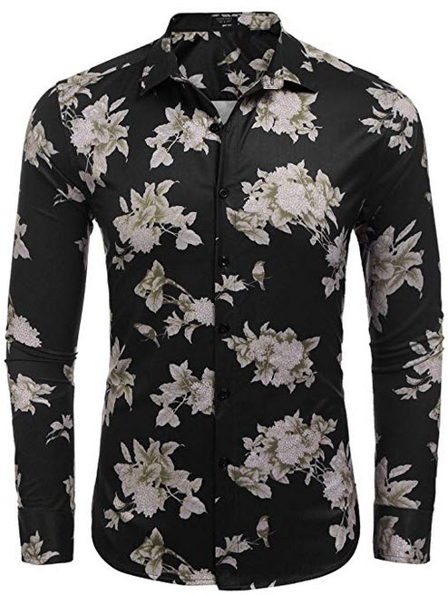 COOFANDY Men's Floral Shirt Slim Fit Casual Button Down Long Sleeve Shirts black