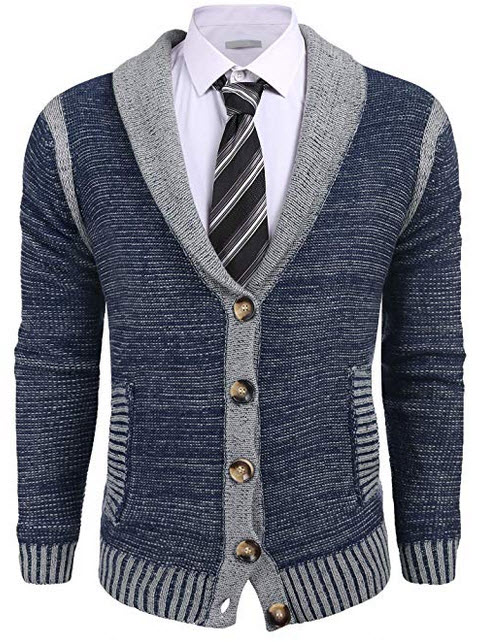 COOFANDY Mens Slim Fit Shawl Collar Long Sleeve Merino Wool Button Down Cardigan Sweater navy blue