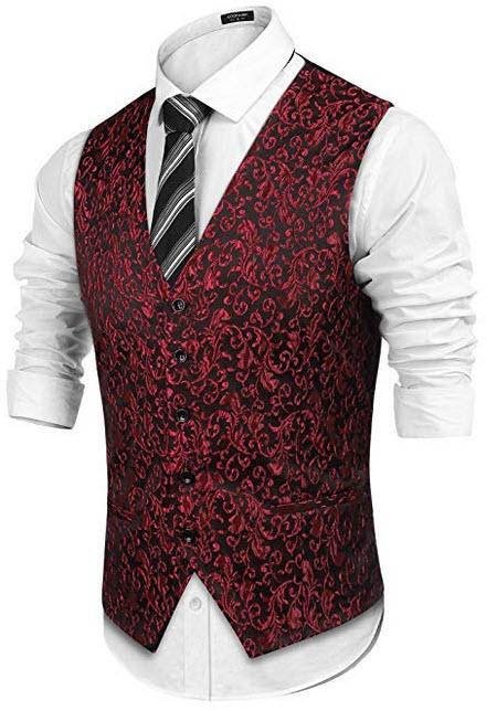 COOFANDY Men's Suit Dress Vest Paisley Floral Tuxedo Vest Wedding Waistcoat red