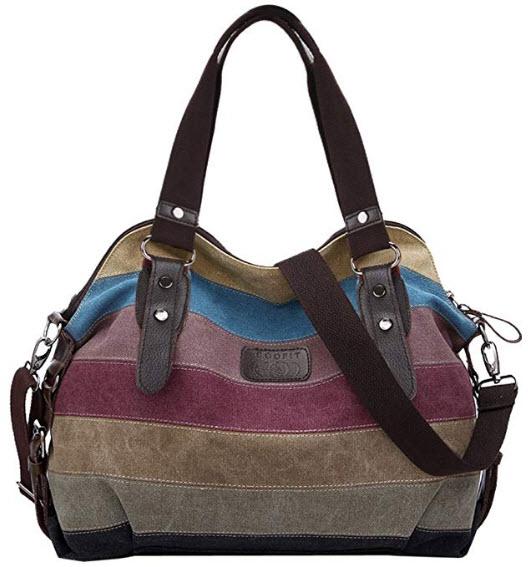 COOFIT Canvas Tote Bags Canvas Handbags Cross Body Shoulder Purse Bag Messenger Bag for Women Mu ...