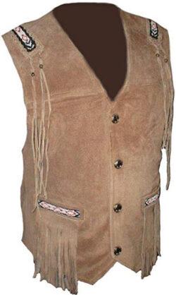 coolhides Men's Fashion Cowboy Vest with Fringes & Beans