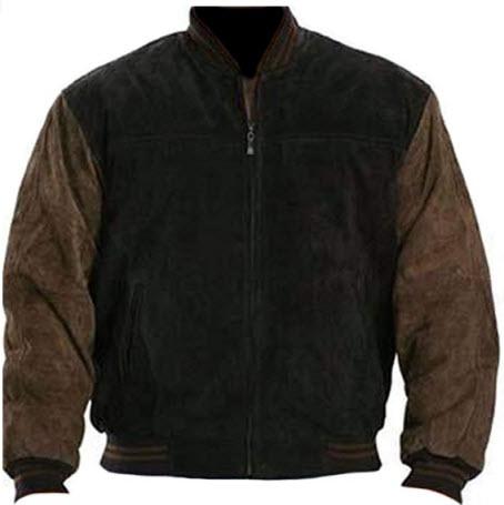coolhides Men's Fashion Suede Leather Jacket Black