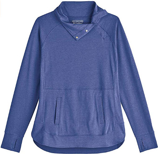 Coolibar UPF 50+ Women's Sea Breeze Funnel Neck Top – Sun Protective, empire blue