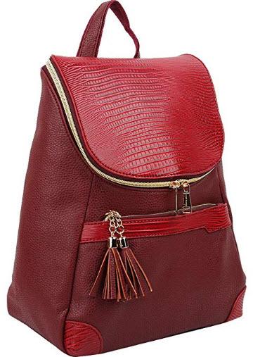 Copi Women's Fashion bags Lovely, feminine Round zipper Design Small Backpacks purse, wine