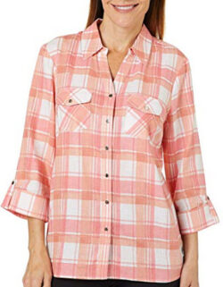 Coral Bay Petite Plaid Linen Button Down Top, coral pink multi