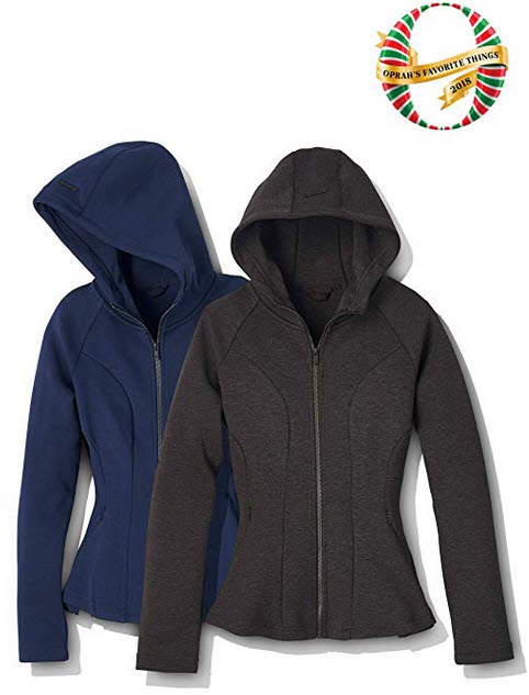 Core 10 Women's Motion Tech Fleece Fitted Peplum Full-Zip Hoodie Jacket