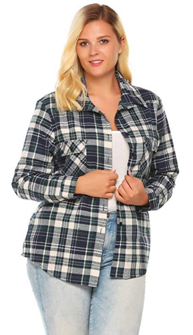 Corgy Women's Plus-Size Long-Sleeve Plaid Flannel Shirt Green 18