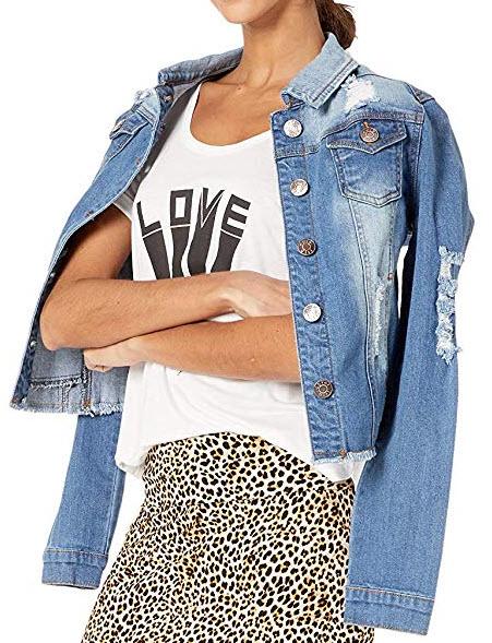 Cover Girl Women's Jeans Denim Jacket Crop Frayed Blue Distressed Or Dark Basic ripped lig ...