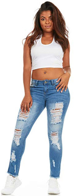 Cover Girl Women's Skinny Jeans Distressed Fray Hem Cropped