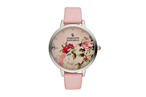 CRF029 La Florale – Silver/Pink Leather Strap Watch by Charlotte Raffaelli