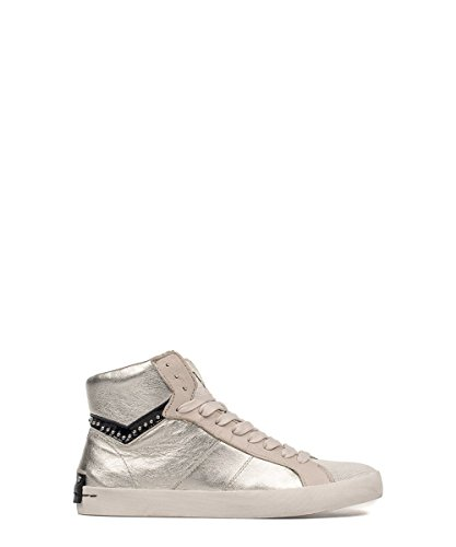Crime London Silver Leather Hi-top Sneakers 37