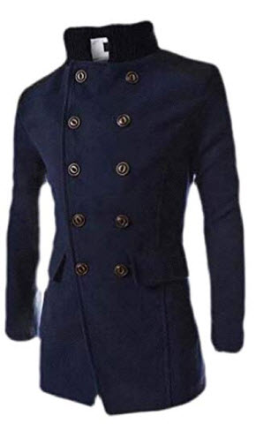 Cromoncent Men Double-Breasted Patchwork Long Sleeve Trench Outwear Wool Blend Coat Jacket
