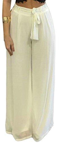 Cruiize Womens Comfort Wide Leg Solid Drawstring Palazzo Chiffon Pants