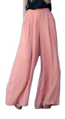 Cruiize Womens Junior Chiffon Straight Slim Wide Leg Palazzo Pant Trousers