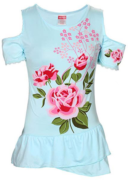 Crush Womens Floral Short Sleeve Tops (See Designs, Sizes), blue