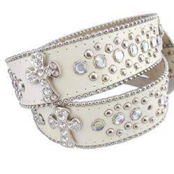 Crystal Western belt with Cross in Pearl Color by Axesoria