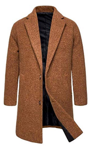 CRYYU Men Thicken Two Button Lapel Longline Winter Wool Blended Trench Pea Coat Outwear