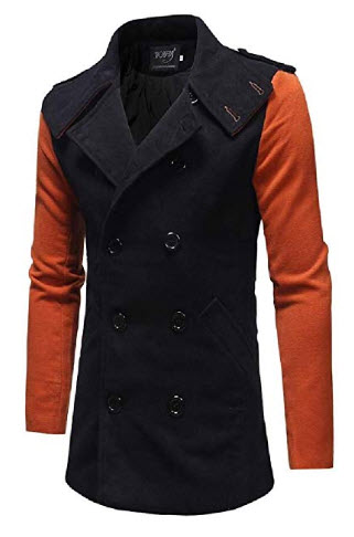 CRYYU Men Winter Wool-Blend Slim Fit Double Breasted Trench Coat Long Jacket Pea Coat