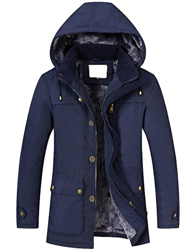 CRYYU-Men Winter Long Sleeve Fleece Removable Hooded Trench Coat.