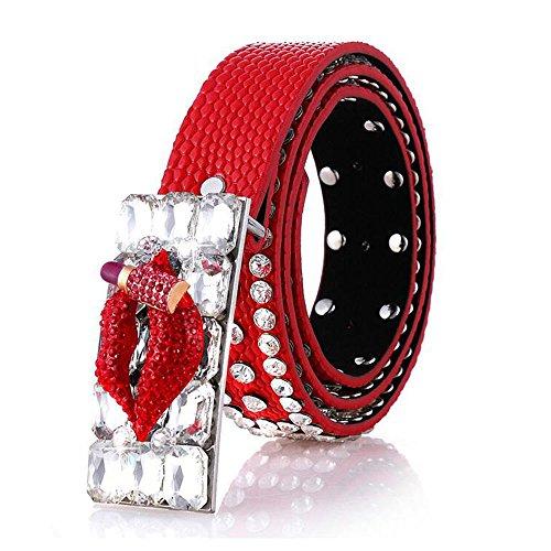 3D Lips Rhinestones Parallel Buckle Belt Women's Sexy Waist Belts by ZaBelt