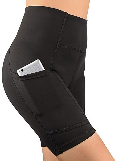 Dafunna Womens Yoga Shorts High Waist Tummy Control Workout Running Short with Side Pockets black