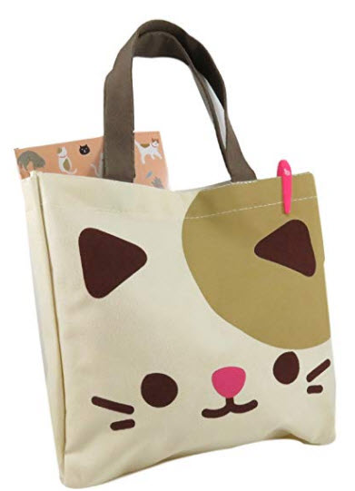 Daiso Cute Kitty Cat Tote Bag Purse 10.75 inch x 10.5 inch Canvas Polyester Beige Brown Pink
