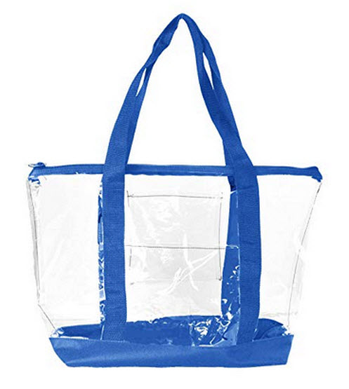 DALIX Clear Shopping Bag Security Work Tote Shoulder Bag Womens Handbag royal blue