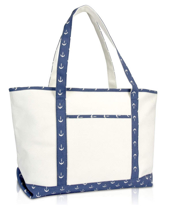 DALIX 23″ Premium 24 oz. Cotton Canvas Shopping Tote Navy Blue Anchor