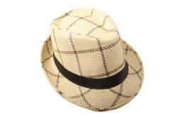 Dantiya Men's Plaid Straw Beach Sun Fedora Panama hats Dark beige