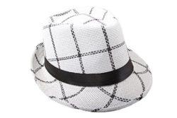 Dantiya Men's Plaid Straw Beach Sun Fedora Panama hats White