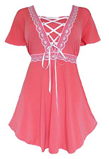 Dare to Wear Victorian Gothic Boho Women's Plus Size Angel Corset Top, coral, silver