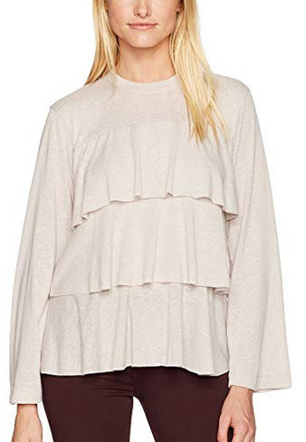 David Lerner Women's Bell Sleeve Tiered Ruffle Top putty