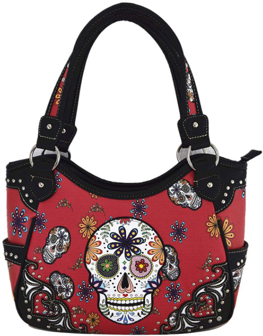 Day of The Dead Sugar Skull Purse Western Concealed Carry Handbag Shoulder Bag Cross Body Wallet ...