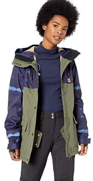 DC Apparel Womens Cruiser Snow Jacket dark blue mud cloth B