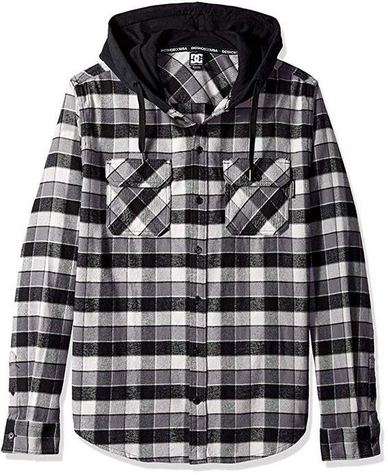 DC Men's Runnels Long Sleeve Hooded Flannel Shirt black