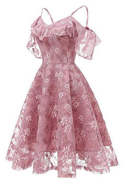 DEATU Princess Dress Women Vintage Floral Cute Lace Cocktail Neckline Ladies Party Swing Sleevel ...