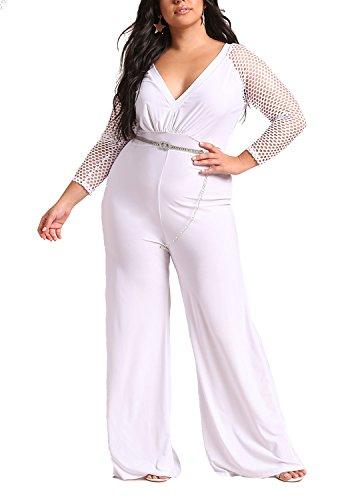 Deb Shops Debshops Womens Plus Size Mesh Net Sleeve Plunge Jumpsuit