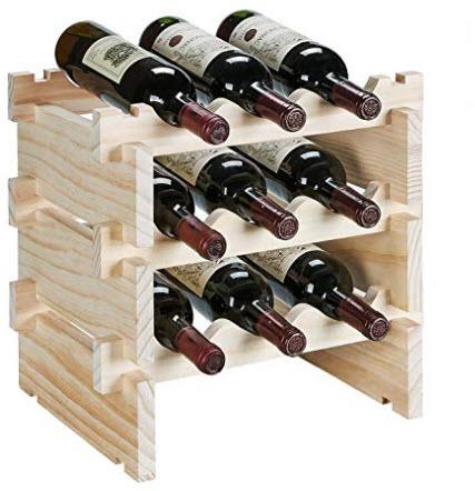 defway Wood Wine Rack – Stackable Storage Wine Holder 9 Bottle Display Free Standing Natural Woo ...