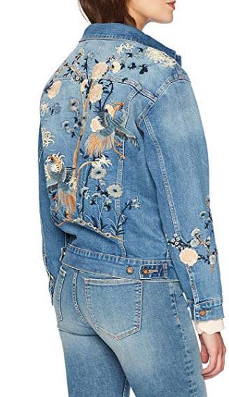 Denim Bloom Women's Boyfriend Denim Jacket with Embroidery, dark blue