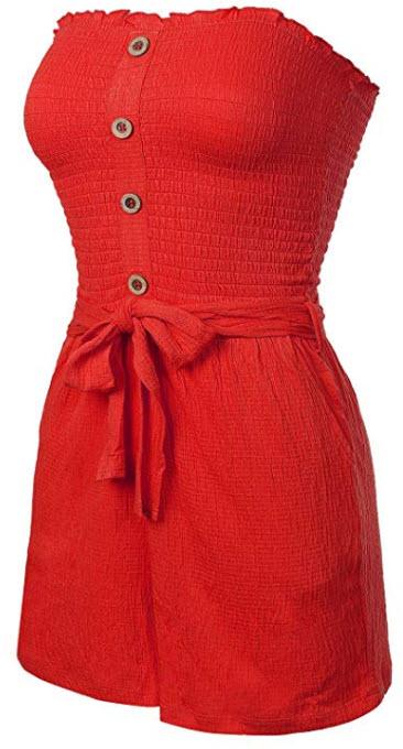 Design by Olivia Women's Front Self Tie Short Smocked Tube Romper