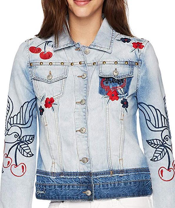 Desigual Women's Eileen Embroidered Detail Denim Jacket – claro