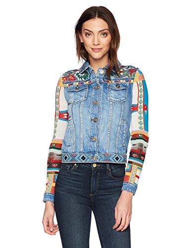 Desigual Women's Fiorella Embroidered Detail Denim Jacket