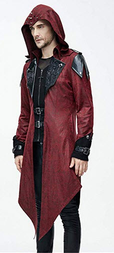 Devil Fashion Steampunk Men Hoodies Trench Coats Priests Cosplay Casual Long Jackets Coats red
