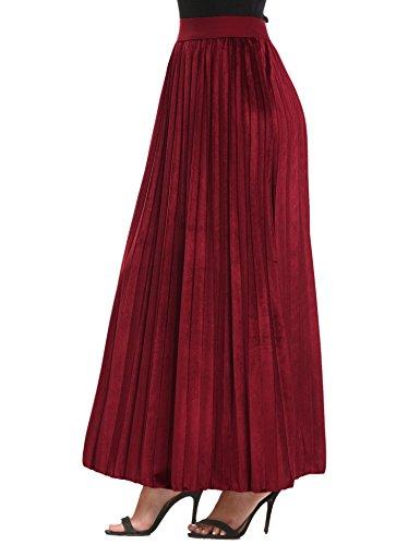 Dicenow Dicesnow Women High Waist Solid Velvet Casual Maxi Long Pleated Skirt