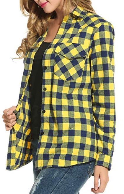 Dicesnow Women's Classic Roll Up Sleeve Boyfriend Loose Button Down Plaid Shirt S-XXXL yellow