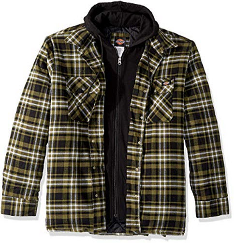 Dickies Men's Relaxed Fit Hooded Quilted Shirt Jacket, military green, white plaid