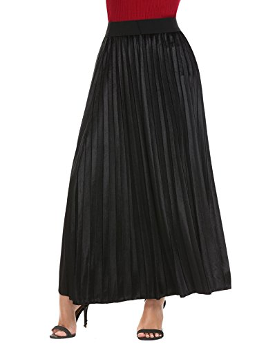 Dickin Women High Waist Solid Velvet Casual Maxi Long Pleated Skirt